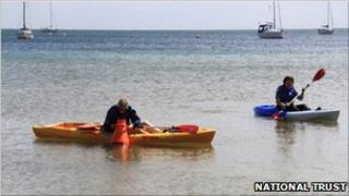 Kayaks at Studland