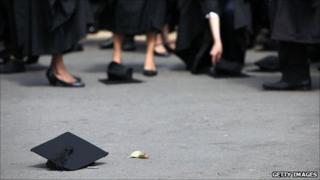 Traditional graduation hat throwing ceremony at Birmingham University, UK