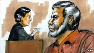 Courtroom drawing Tahawwur Rana (right) and a judge