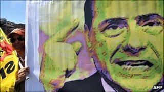 Berlusconi on a campaign poster