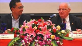 James Lu and Senator Terry Le Sueur