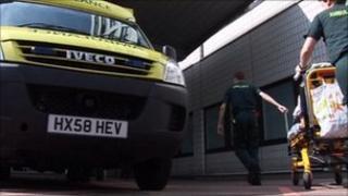 Ambulance outside John Radcliffe Hospital
