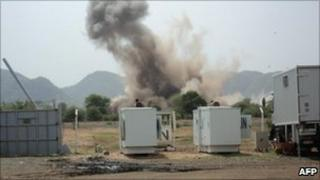 Two bombs land very close to the UN Mission in Sudan (UNMIS) compound in Kauda on June 14, 2011