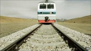 A train on the Tibetan rail road