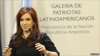 Cristina Fernandez de Kirchner attends a ceremony at the Casa Rosada Presidential Palace in Buenos Aires on 21 June 2011
