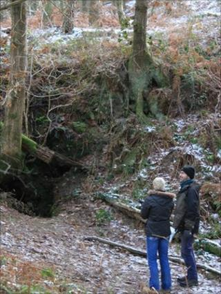 Dr Xanthe Mallett and Graham Lee at the entrance to one of the windy pits in Ryedale