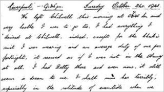 Excerpt from diary