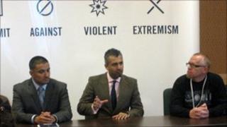 Left, Paul Carrillo (former gang member); centre, Maajid Nawaz (former Islamist, now director of Quilliam Foundation); right, T.J Leyden (former neo-Nazi)
