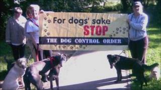 Dog walkers from the Stop the Dog Control Order group