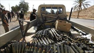 A truck belonging to Libyan rebel fighters is seen filled with ammunition at a checkpoint in Bir Ayyad on 1 July 2011