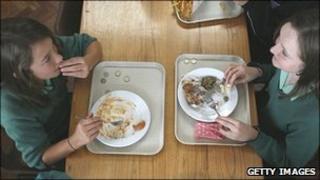 Girls eating school lunch