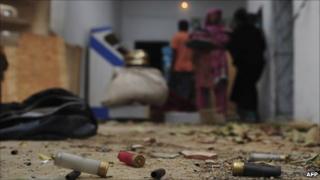 Empty cartridge shells in a violence-hit Karachi neighbourhood