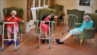 An group of elderly residents at a North East London nursing home