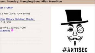 Screengrab of Anonymous data dump, Anonymous
