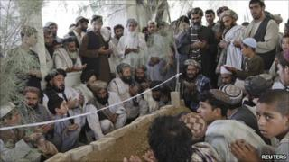 Mourners at the funeral of Ahmad Wali Karzai