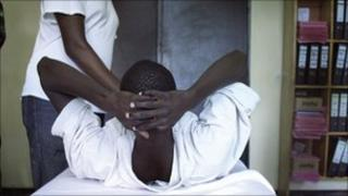 A man being circumcised in Rwanda