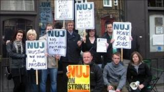 NUJ picket line outside the Doncaster Free Press