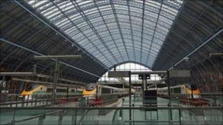 Eurostar trains at St Pancras International Station