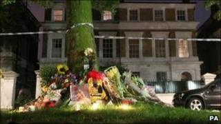 Tributes outside the home of Amy Winehouse