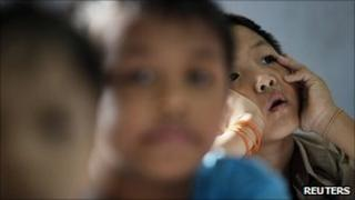A refugee from Burma sits in class at a school in Kuala Lumpur