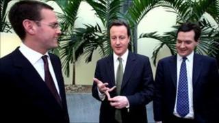 James Murdoch, David Cameron and George Osborne