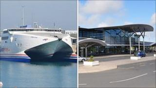 Condor ferry and Guernsey Airport