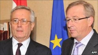Luxembourg Prime Minister and Eurogroup president Jean-Claude Juncker (right) meets Italian Finance Minister Giulio Tremonti