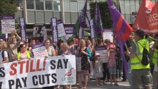 Social workers marching in Southampton
