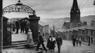 Members of the congregation arrive for the Sunday service at the Saron Chapel, Ebbw Vale, Wales