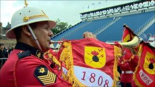 Brazilian Marine Corps band launch the the programme for the Royal Edinburgh Military Tattoo