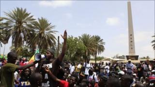 Thiat addressing a rally in Dakar in June