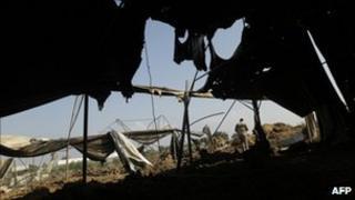 Site damaged by Israeli strike near Deir al-Balah, Gaza.
