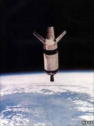 Saturn rocket body in space