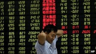 Chinese investor at stock exchange in Anhui province. 5 Aug 2011