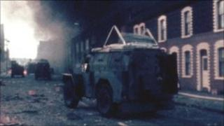 Army Land Rover during internment raids