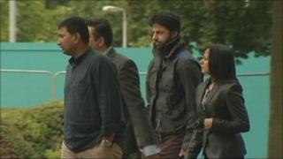 Shrien Dewani, second from right, and supporters arriving at court