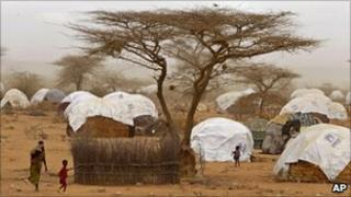 The Dadaab refugee camp across the border from Somalia in Kenya