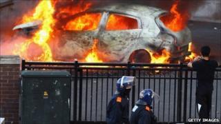 Car on fire in Birmingham