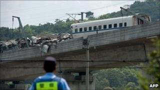 File picture of wreckage of two high-speed trains in Shuangyu, taken on July 24, 2011