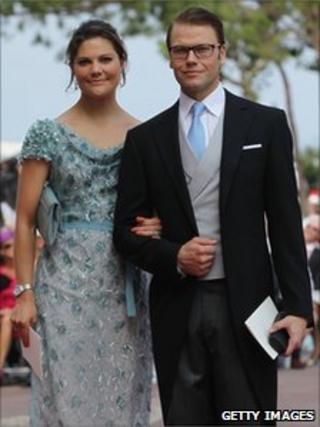 Swedish Crown Princess Victoria and Prince Daniel attend the royal wedding of Prince Albert II of Monaco to Princess Charlene of Monaco in the main courtyard in the Prince's Palace in Monaco on 2 July 2011