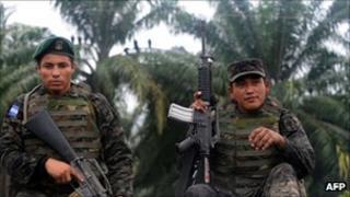Honduran soldiers on patrol on 19 August 2011