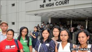 Migrant Workers Union members outside the Hong Kong high court