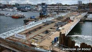 Construction of the Twin Sails bridge in Poole PHOTO: Borough of Poole