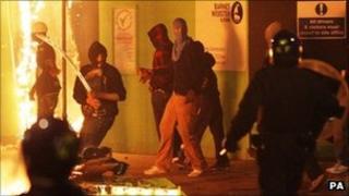 Riot police in Tottenham, north London