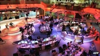 Al-Jazeera's newsroom in Doha, Qatar