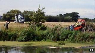 The wreckage of the Red Arrow by the River Stour