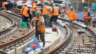 Workers on the new tram line in Edinburgh