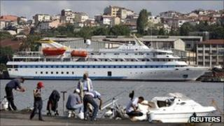 The cruise liner Mavi Marmara is pictured in a shipyard in Istanbul, Turkey, 4 September 2011