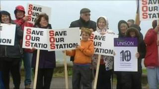 Silent protest at Swansea Coastguard station