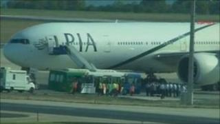 Screengrab of Pakistan International Airlines jet at Ataturk airport, Istanbul, 7 September 2011